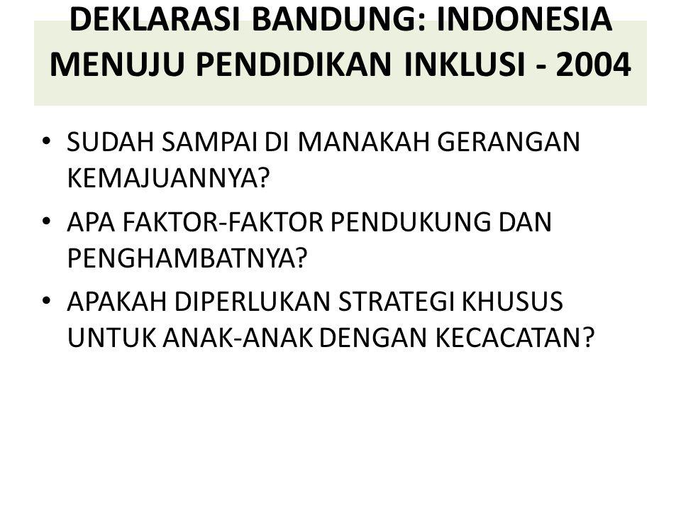 DEKLARASI BANDUNG: INDONESIA MENUJU PENDIDIKAN INKLUSI - 2004 SUDAH SAMPAI DI MANAKAH GERANGAN KEMAJUANNYA? APA FAKTOR-FAKTOR PENDUKUNG DAN PENGHAMBAT