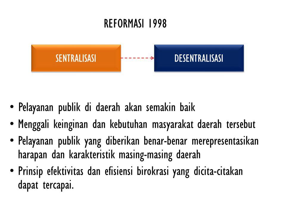 REFORMASI 1998 Pelayanan publik di daerah akan semakin baik Menggali keinginan dan kebutuhan masyarakat daerah tersebut Pelayanan publik yang diberikan benar-benar merepresentasikan harapan dan karakteristik masing-masing daerah Prinsip efektivitas dan efisiensi birokrasi yang dicita-citakan dapat tercapai.