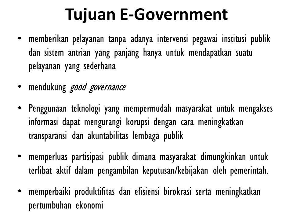 Pendayagunaan e-Government juga sejalan dengan kebijakan penyelenggaraan otonomi daerah, dengan harapan agar penyampaian layanan pemerintah kepada masyarakat dapat berlangsung secara lebih efisien dan efektif