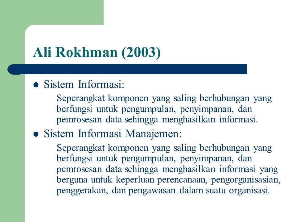 Ali Rokhman (2003) Sistem Informasi: Seperangkat komponen yang saling berhubungan yang berfungsi untuk pengumpulan, penyimpanan, dan pemrosesan data s