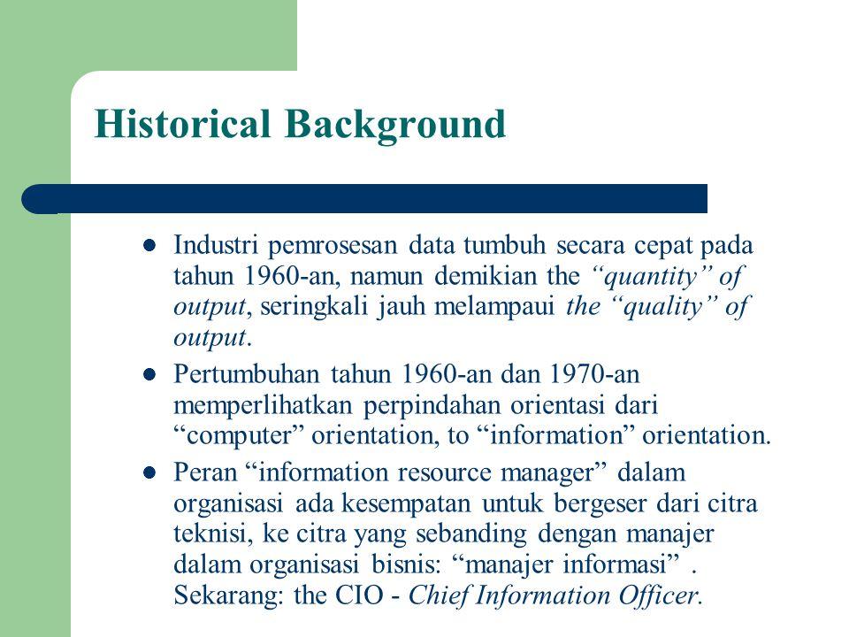 """Historical Background Industri pemrosesan data tumbuh secara cepat pada tahun 1960-an, namun demikian the """"quantity"""" of output, seringkali jauh melamp"""