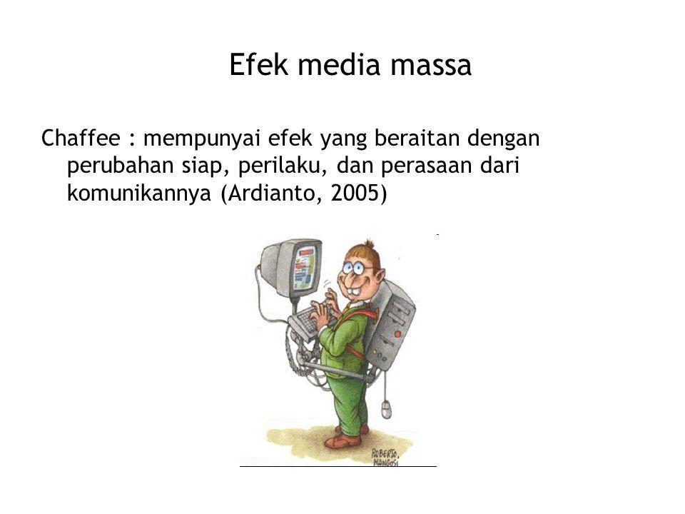 Efek media massa Chaffee : mempunyai efek yang beraitan dengan perubahan siap, perilaku, dan perasaan dari komunikannya (Ardianto, 2005)