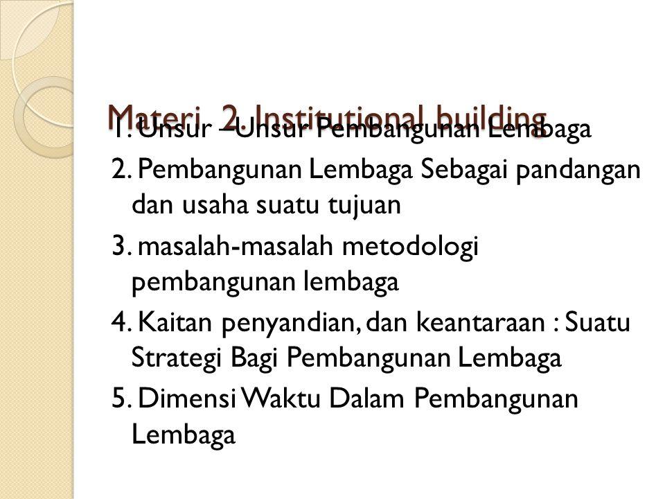 Materi 2.Institutional building 1. Unsur –Unsur Pembangunan Lembaga 2.