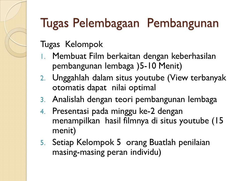 Tugas Pelembagaan Pembangunan Tugas Kelompok 1. Membuat Film berkaitan dengan keberhasilan pembangunan lembaga )5-10 Menit) 2. Unggahlah dalam situs y