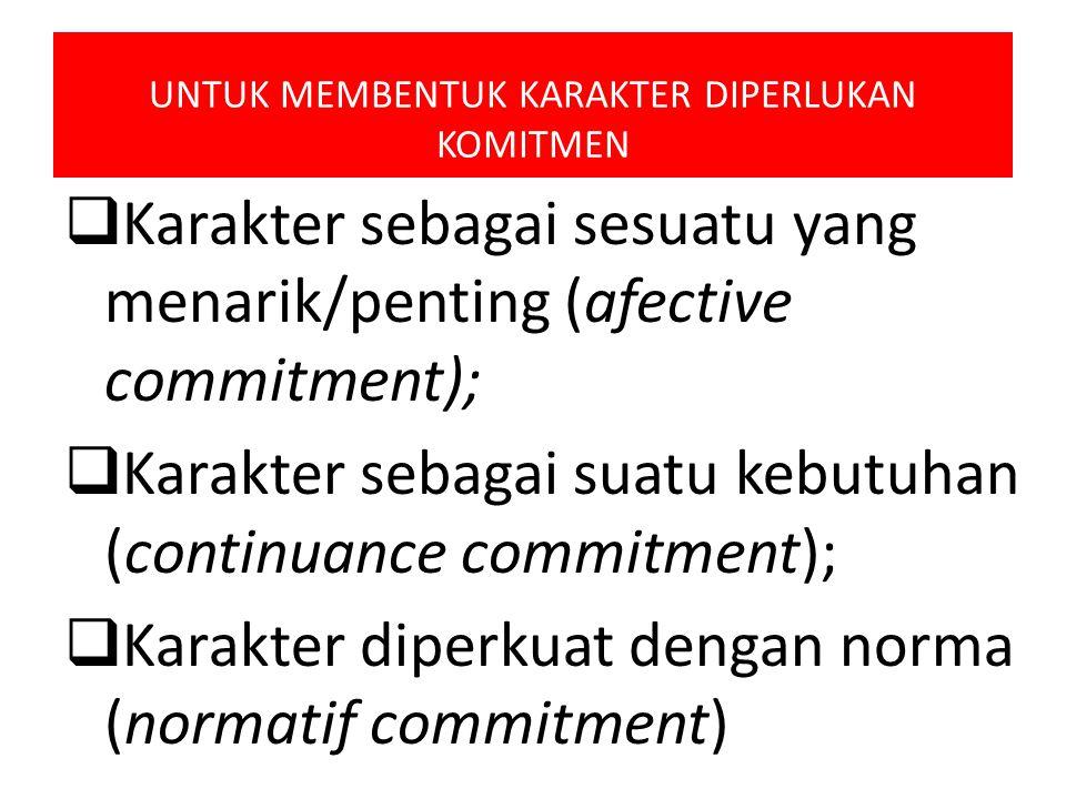 UNTUK MEMBENTUK KARAKTER DIPERLUKAN KOMITMEN  Karakter sebagai sesuatu yang menarik/penting (afective commitment);  Karakter sebagai suatu kebutuhan
