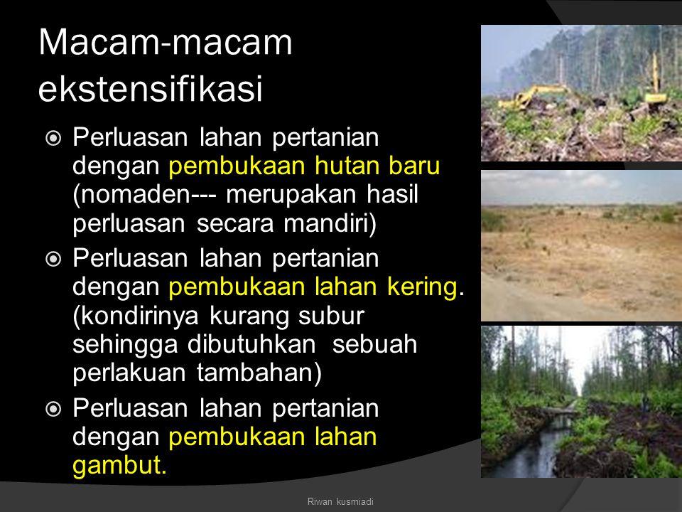 Macam-macam ekstensifikasi  Perluasan lahan pertanian dengan pembukaan hutan baru (nomaden--- merupakan hasil perluasan secara mandiri)  Perluasan l