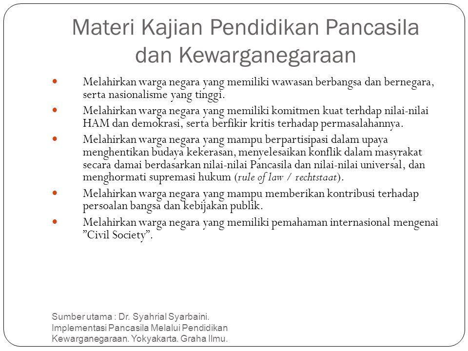 Materi Kajian Pendidikan Pancasila dan Kewarganegaraan Sumber utama : Dr. Syahrial Syarbaini. Implementasi Pancasila Melalui Pendidikan Kewarganegaraa