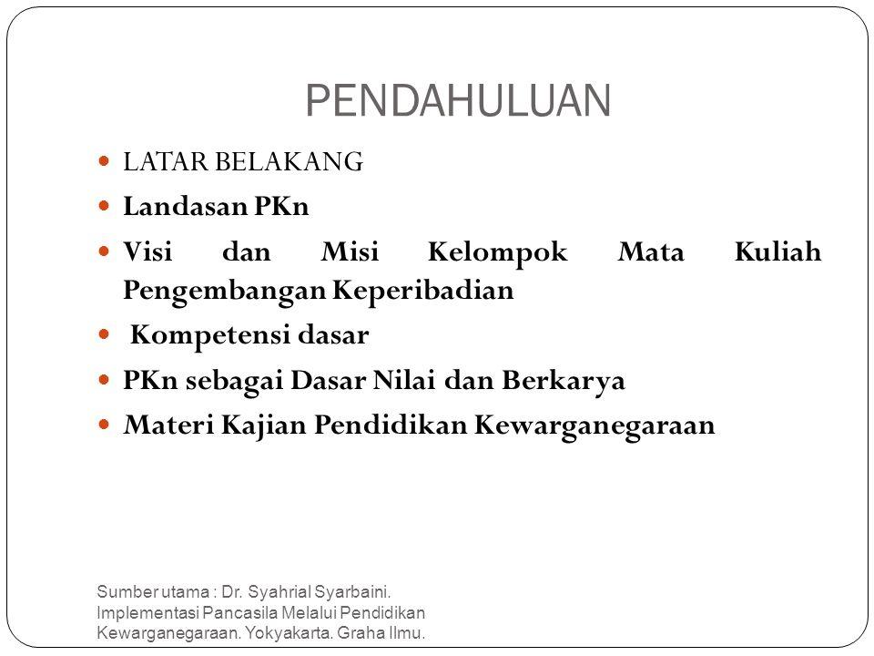 PENDAHULUAN Sumber utama : Dr. Syahrial Syarbaini. Implementasi Pancasila Melalui Pendidikan Kewarganegaraan. Yokyakarta. Graha Ilmu. 2 LATAR BELAKANG