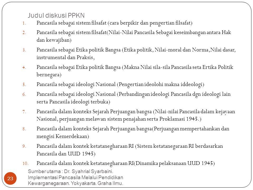 Judul diskusi PPKN 1. Pancasila sebagai sistem filsafat (cara berpikir dan pengertian filsafat) 2. Pancasila sebagai sistem filsafat(Nilai-Nilai Panca