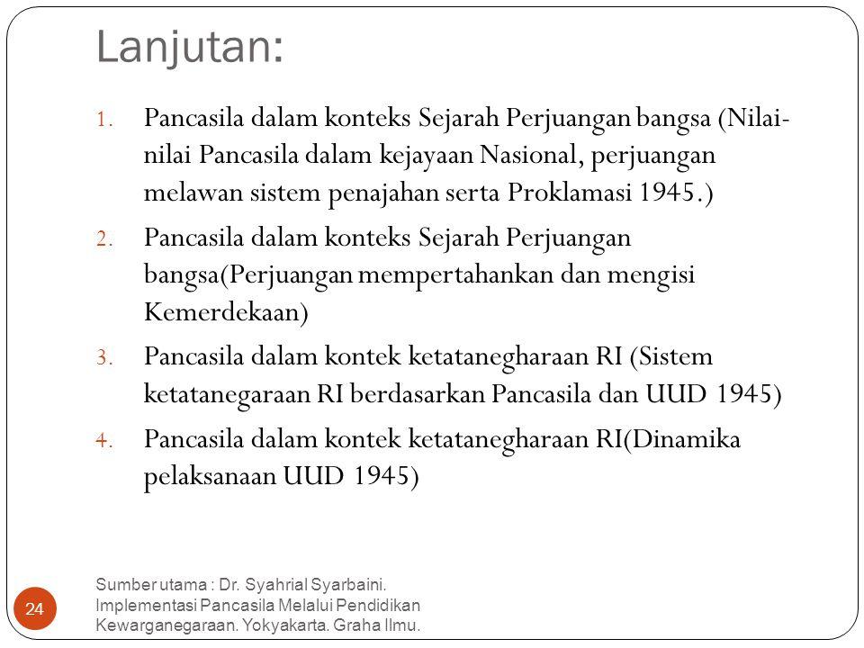 Lanjutan: 1. Pancasila dalam konteks Sejarah Perjuangan bangsa (Nilai- nilai Pancasila dalam kejayaan Nasional, perjuangan melawan sistem penajahan se
