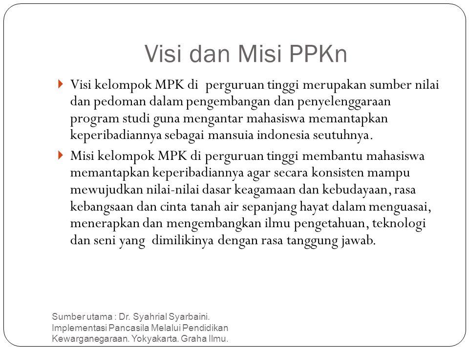 Visi dan Misi PPKn Sumber utama : Dr. Syahrial Syarbaini. Implementasi Pancasila Melalui Pendidikan Kewarganegaraan. Yokyakarta. Graha Ilmu. 8  Visi