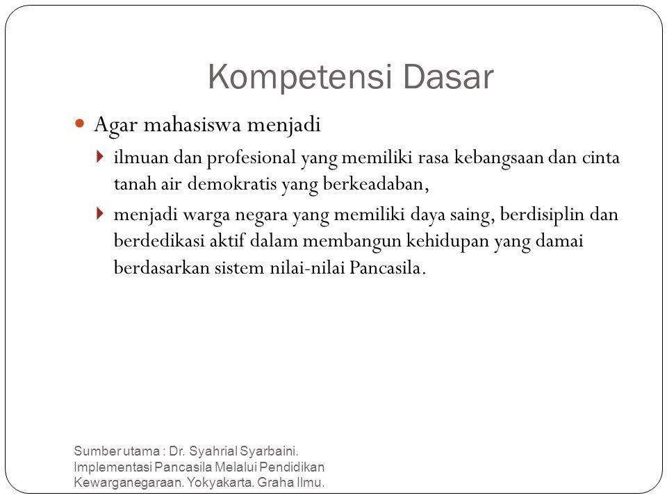 Kompetensi Dasar Sumber utama : Dr. Syahrial Syarbaini. Implementasi Pancasila Melalui Pendidikan Kewarganegaraan. Yokyakarta. Graha Ilmu. 9 Agar maha