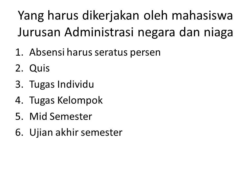 Yang harus dikerjakan oleh mahasiswa Jurusan Administrasi negara dan niaga 1.Absensi harus seratus persen 2.Quis 3.Tugas Individu 4.Tugas Kelompok 5.M