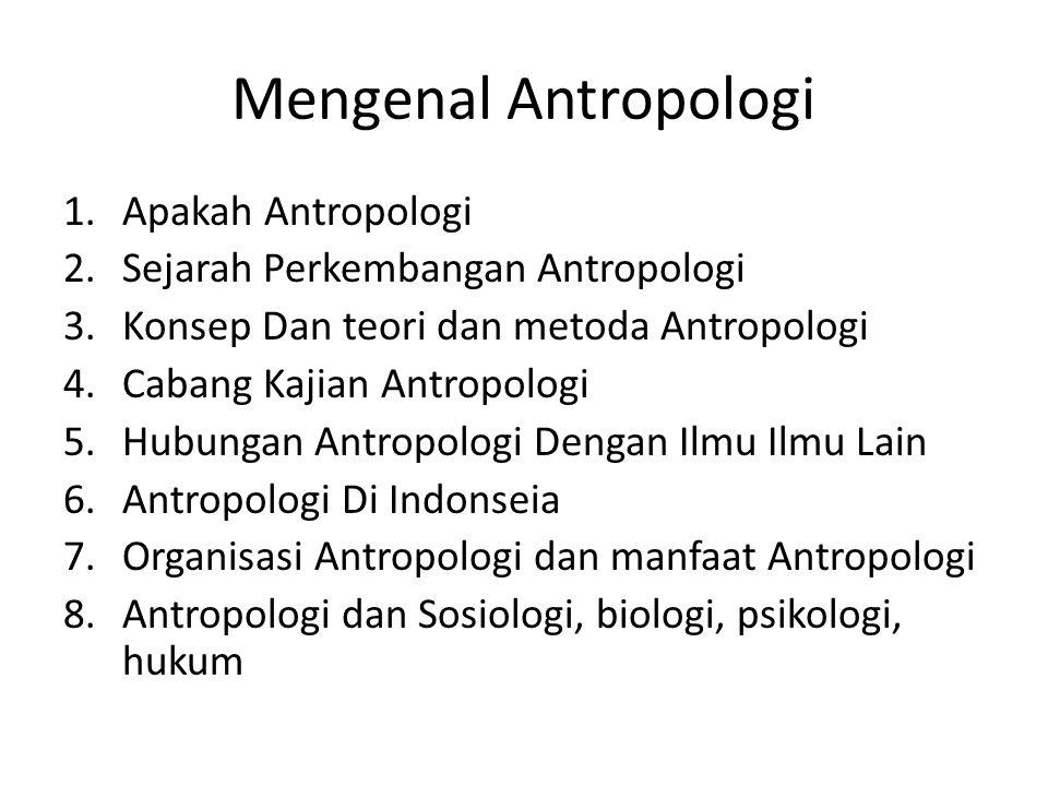 Mengenal Antropologi 1.Apakah Antropologi 2.Sejarah Perkembangan Antropologi 3.Konsep Dan teori dan metoda Antropologi 4.Cabang Kajian Antropologi 5.H