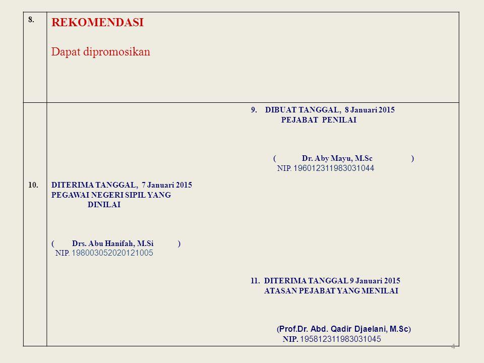 8.REKOMENDASI Dapat dipromosikan 9. DIBUAT TANGGAL, 8 Januari 2015 PEJABAT PENILAI ( Dr.
