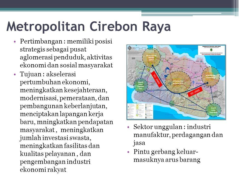 Metropolitan Cirebon Raya Pertimbangan : memiliki posisi strategis sebagai pusat aglomerasi penduduk, aktivitas ekonomi dan sosial masyarakat Tujuan :