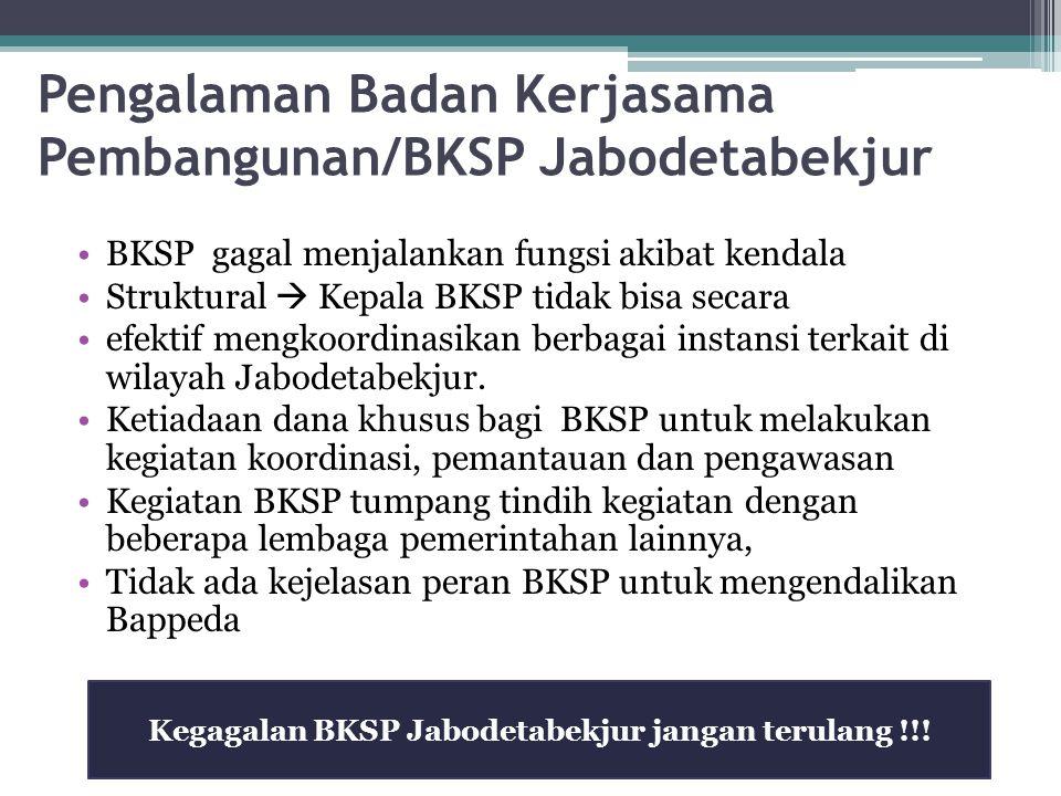 Pengalaman Badan Kerjasama Pembangunan/BKSP Jabodetabekjur BKSP gagal menjalankan fungsi akibat kendala Struktural  Kepala BKSP tidak bisa secara efe