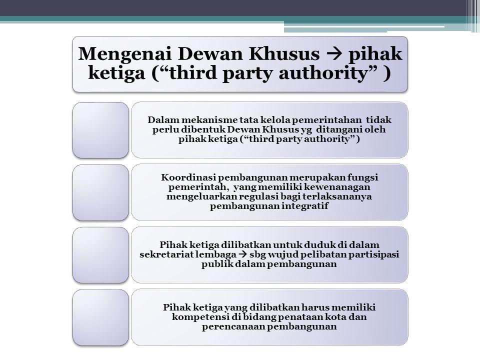 """Mengenai Dewan Khusus  pihak ketiga (""""third party authority"""" ) Dalam mekanisme tata kelola pemerintahan tidak perlu dibentuk Dewan Khusus yg ditangan"""