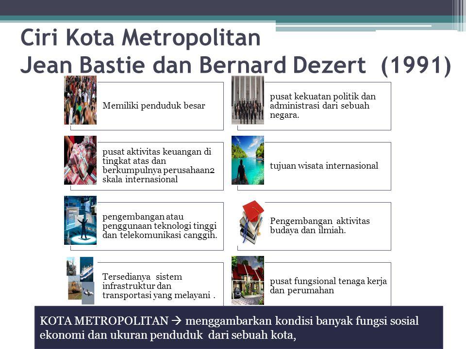 Ciri Kota Metropolitan Jean Bastie dan Bernard Dezert (1991) Memiliki penduduk besar pusat kekuatan politik dan administrasi dari sebuah negara. pusat