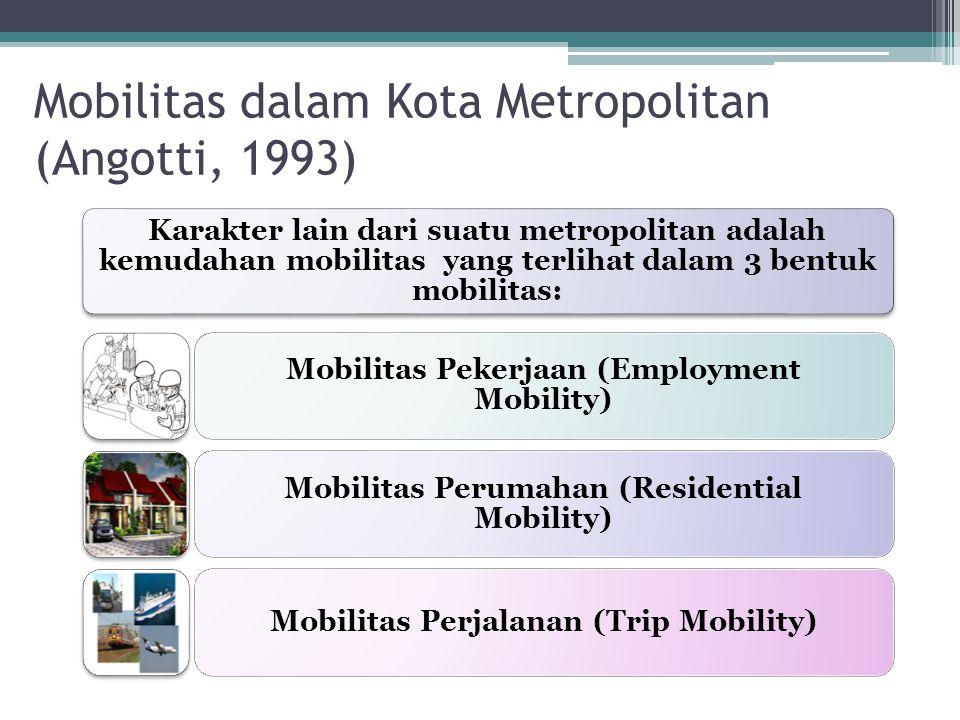 Karakter lain dari suatu metropolitan adalah kemudahan mobilitas yang terlihat dalam 3 bentuk mobilitas: Mobilitas Pekerjaan (Employment Mobility) Mob