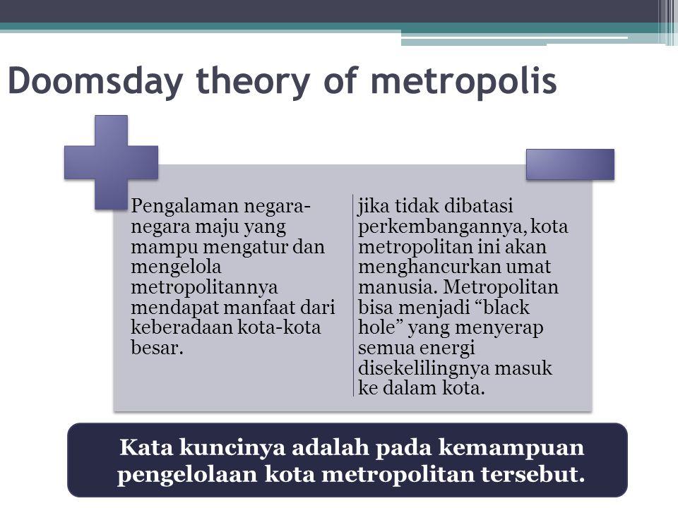 Doomsday theory of metropolis Pengalaman negara- negara maju yang mampu mengatur dan mengelola metropolitannya mendapat manfaat dari keberadaan kota-k