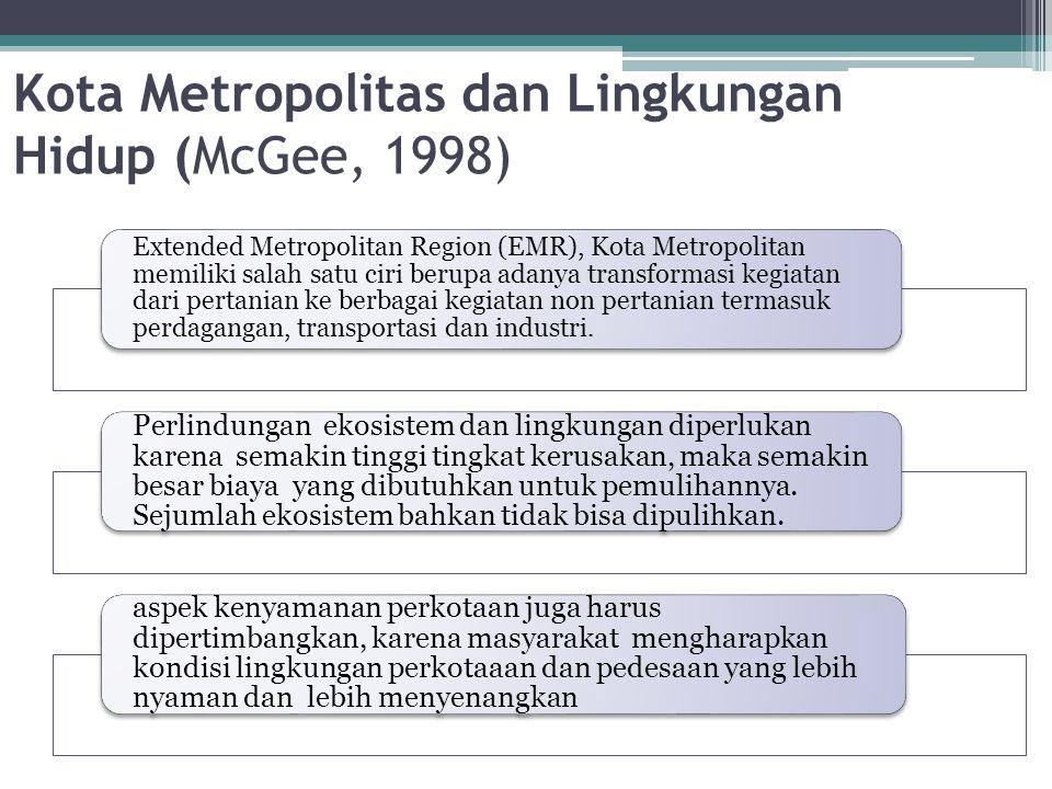 Kota Metropolitas dan Lingkungan Hidup (McGee, 1998) Extended Metropolitan Region (EMR), Kota Metropolitan memiliki salah satu ciri berupa adanya tran