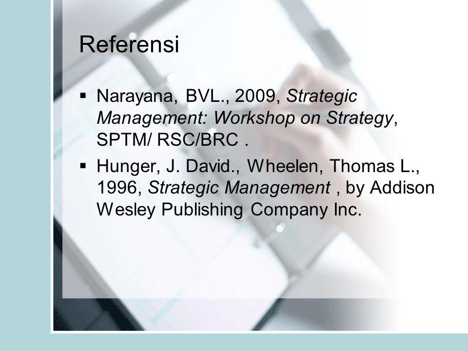 Referensi  Narayana, BVL., 2009, Strategic Management: Workshop on Strategy, SPTM/ RSC/BRC.  Hunger, J. David., Wheelen, Thomas L., 1996, Strategic