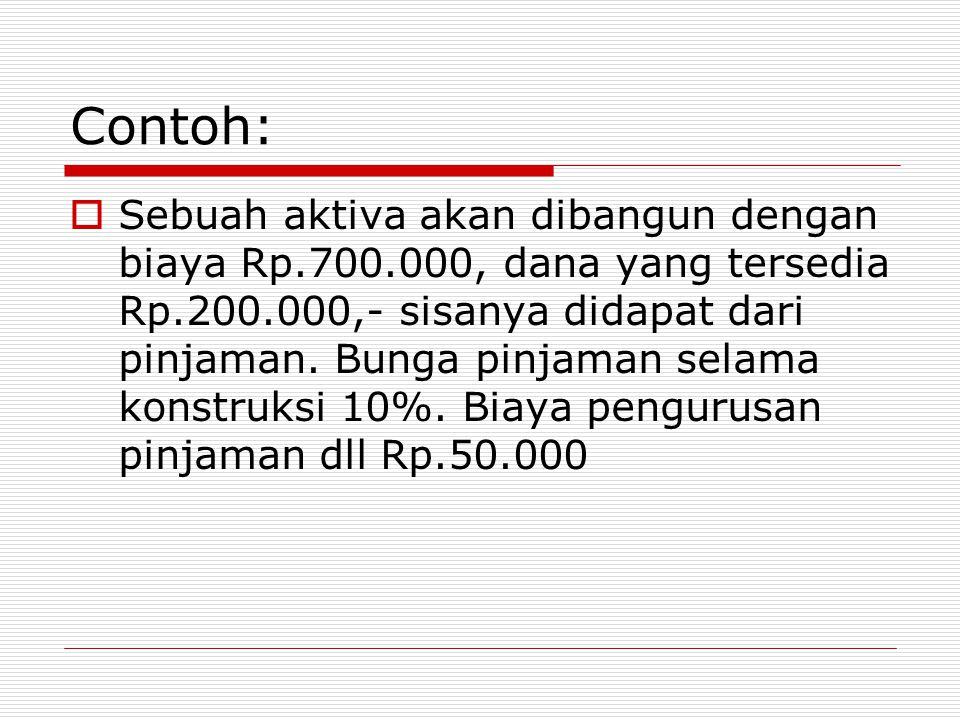 Contoh:  Sebuah aktiva akan dibangun dengan biaya Rp.700.000, dana yang tersedia Rp.200.000,- sisanya didapat dari pinjaman. Bunga pinjaman selama ko