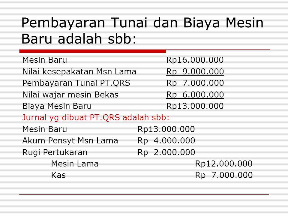 Pembayaran Tunai dan Biaya Mesin Baru adalah sbb: Mesin BaruRp16.000.000 Nilai kesepakatan Msn LamaRp 9.000.000 Pembayaran Tunai PT.QRSRp 7.000.000 Ni