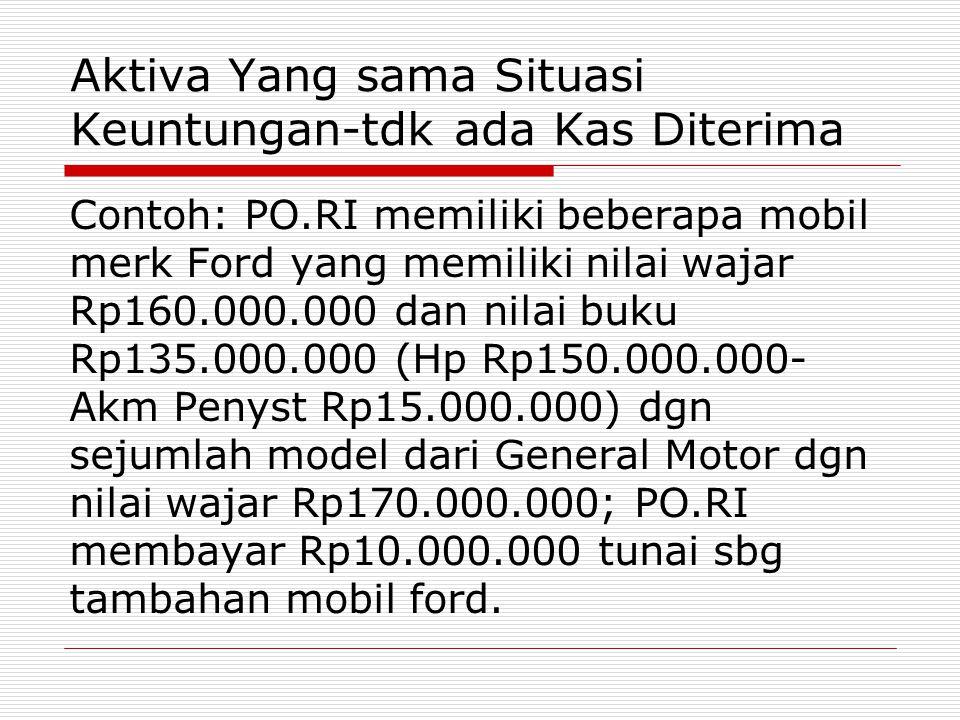 Aktiva Yang sama Situasi Keuntungan-tdk ada Kas Diterima Contoh: PO.RI memiliki beberapa mobil merk Ford yang memiliki nilai wajar Rp160.000.000 dan n