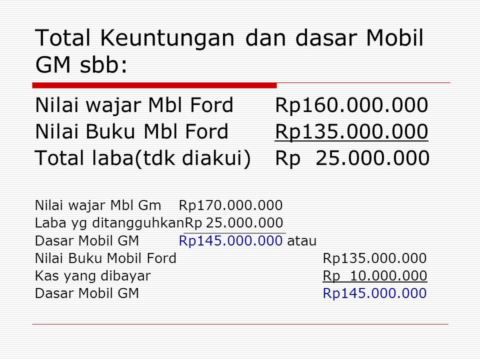 Total Keuntungan dan dasar Mobil GM sbb: Nilai wajar Mbl FordRp160.000.000 Nilai Buku Mbl FordRp135.000.000 Total laba(tdk diakui)Rp 25.000.000 Nilai
