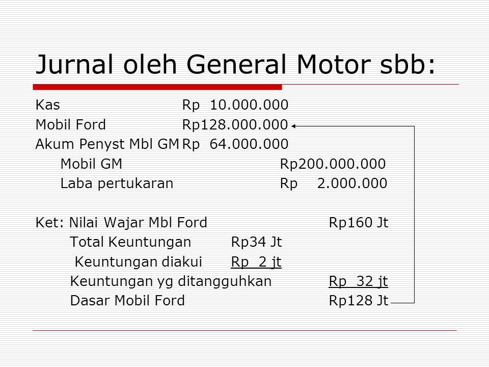 Jurnal oleh General Motor sbb: KasRp 10.000.000 Mobil FordRp128.000.000 Akum Penyst Mbl GMRp 64.000.000 Mobil GMRp200.000.000 Laba pertukaranRp 2.000.