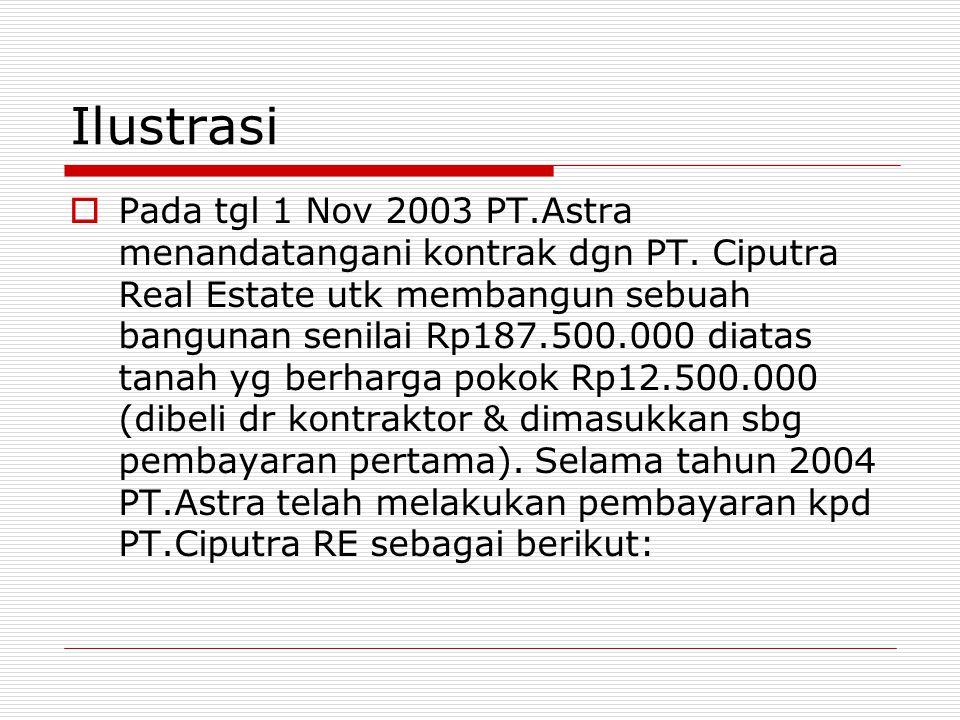 Ilustrasi  Pada tgl 1 Nov 2003 PT.Astra menandatangani kontrak dgn PT. Ciputra Real Estate utk membangun sebuah bangunan senilai Rp187.500.000 diatas