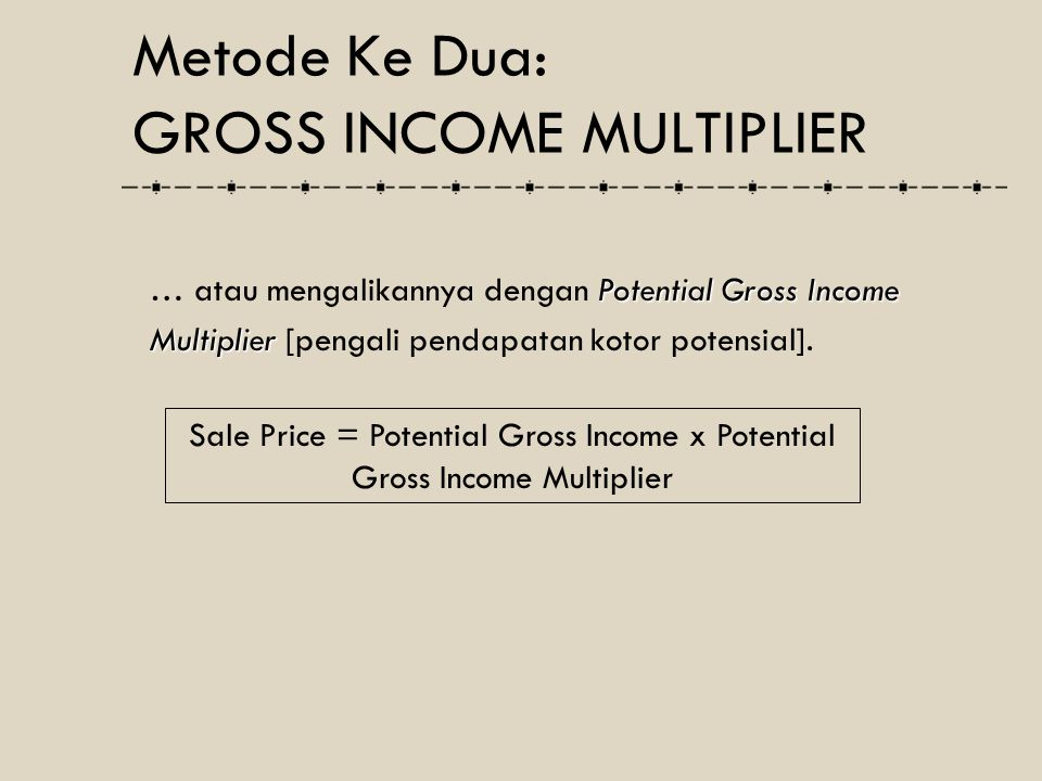 Sale Price = Potential Gross Income x Potential Gross Income Multiplier Potential Gross Income … atau mengalikannya dengan Potential Gross Income Mult