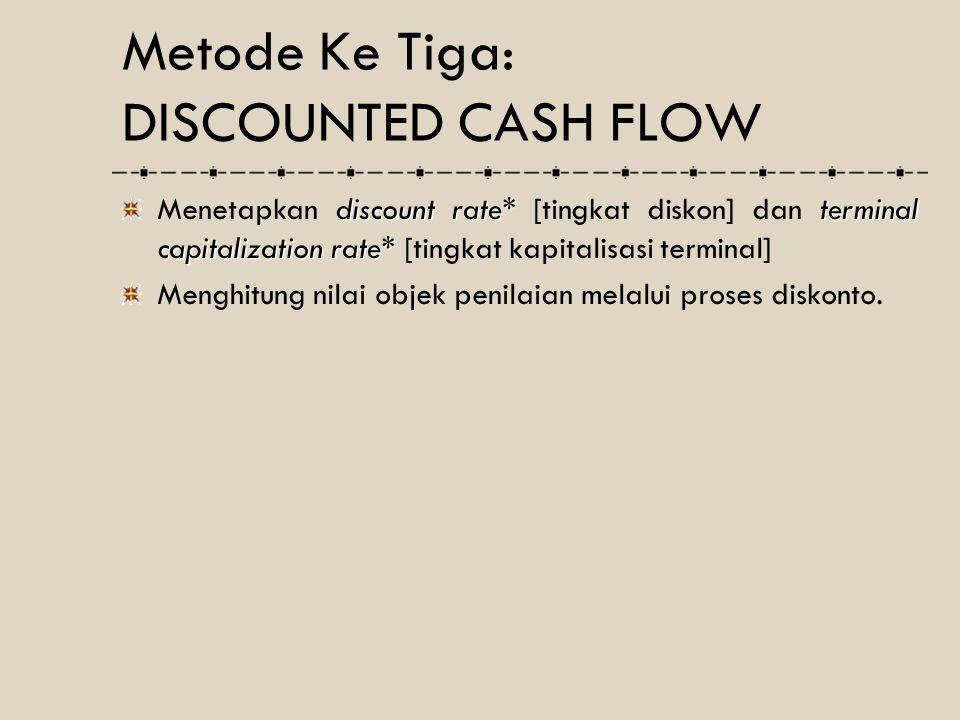 discount rate*terminal capitalization rate* Menetapkan discount rate* [tingkat diskon] dan terminal capitalization rate* [tingkat kapitalisasi termina