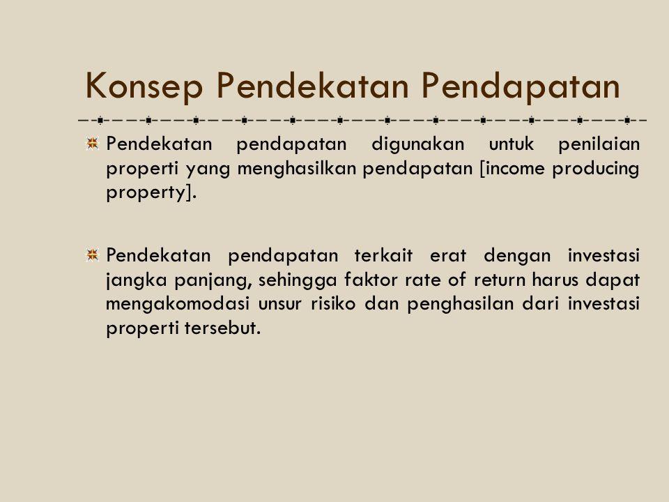 Konsep Pendekatan Pendapatan Pendekatan pendapatan digunakan untuk penilaian properti yang menghasilkan pendapatan [income producing property]. Pendek