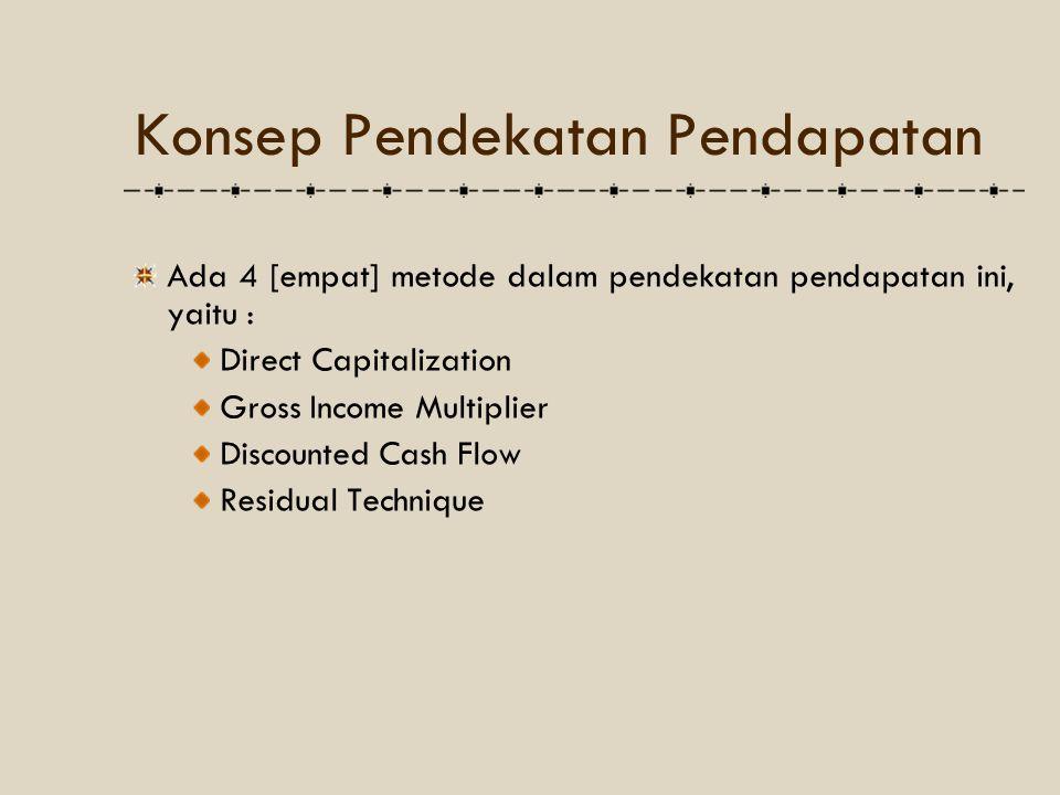 Konsep Pendekatan Pendapatan Ada 4 [empat] metode dalam pendekatan pendapatan ini, yaitu : Direct Capitalization Gross Income Multiplier Discounted Ca