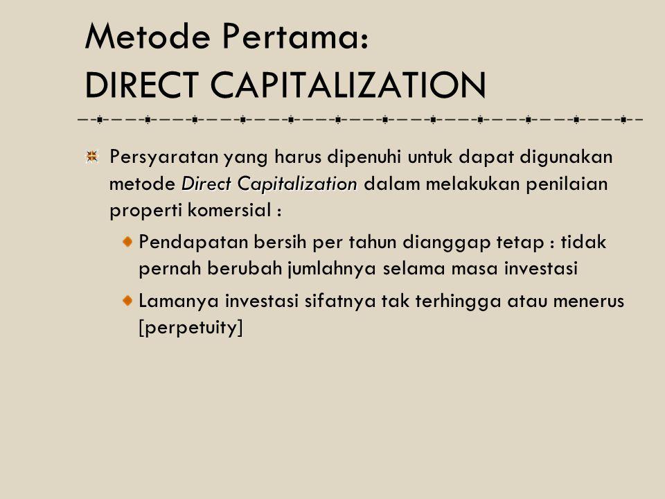 Lima hal penting dalam metode DCF adalah : Periode DCF Frekuensi DCF Proyeksi Pendapatan dan Pengeluaran Capitalization Rate Discount Rate Metode Ke Tiga: DISCOUNTED CASH FLOW