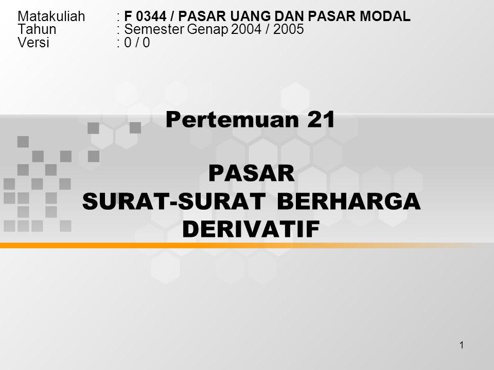 1 Pertemuan 21 PASAR SURAT-SURAT BERHARGA DERIVATIF Matakuliah: F 0344 / PASAR UANG DAN PASAR MODAL Tahun: Semester Genap 2004 / 2005 Versi: 0 / 0