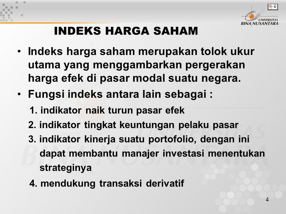 4 INDEKS HARGA SAHAM Indeks harga saham merupakan tolok ukur utama yang menggambarkan pergerakan harga efek di pasar modal suatu negara. Fungsi indeks