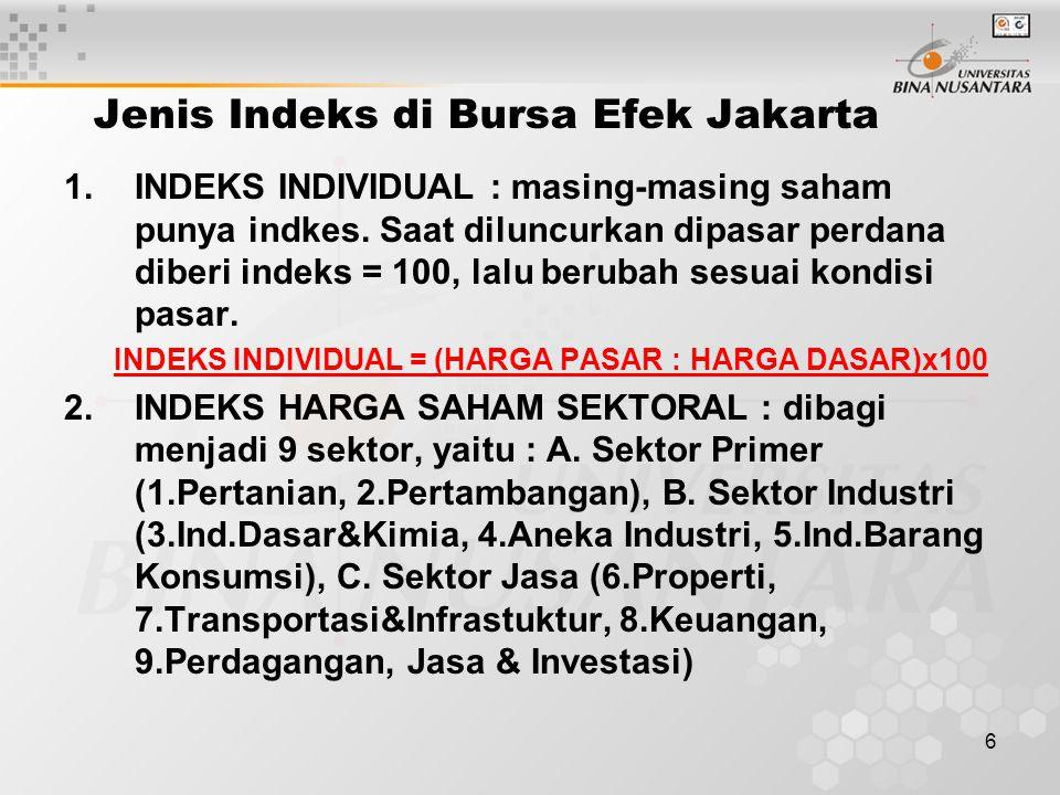 6 Jenis Indeks di Bursa Efek Jakarta 1.INDEKS INDIVIDUAL : masing-masing saham punya indkes. Saat diluncurkan dipasar perdana diberi indeks = 100, lal