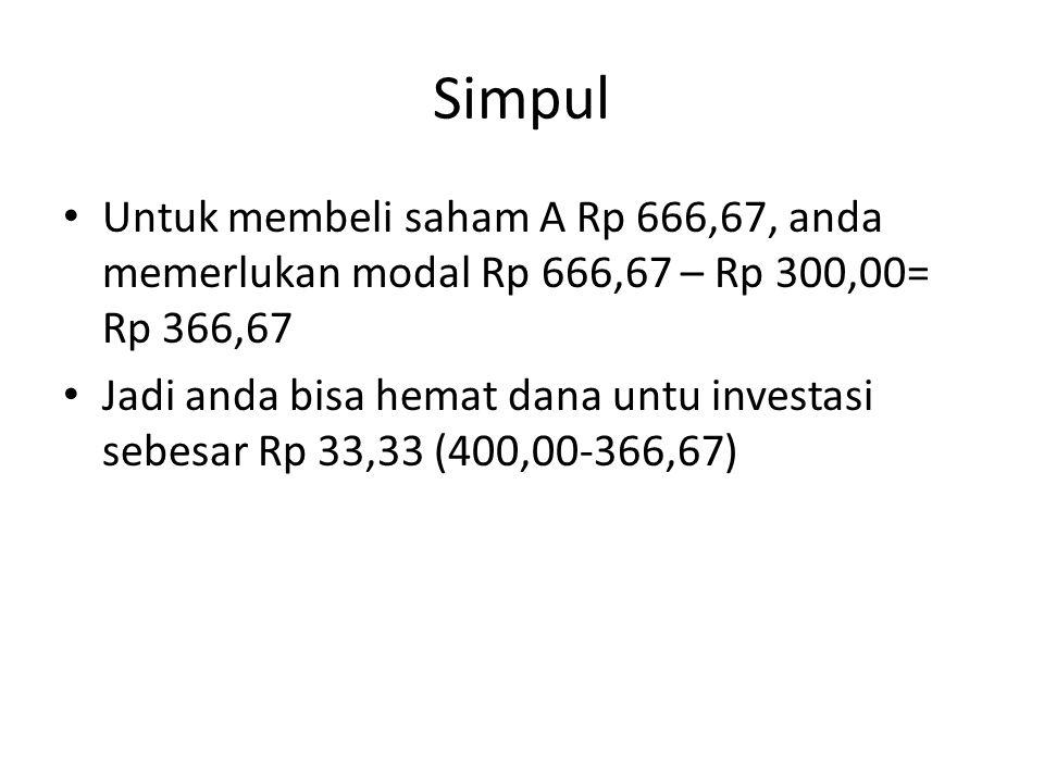 Simpul Untuk membeli saham A Rp 666,67, anda memerlukan modal Rp 666,67 – Rp 300,00= Rp 366,67 Jadi anda bisa hemat dana untu investasi sebesar Rp 33,33 (400,00-366,67)