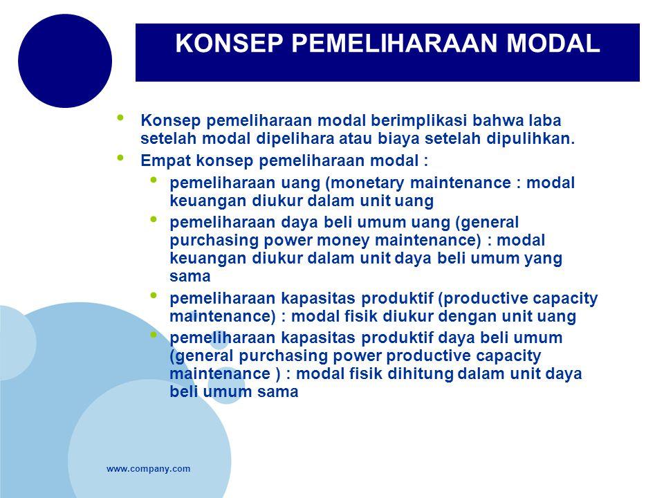 www.company.com Konsep pemeliharaan modal berimplikasi bahwa laba setelah modal dipelihara atau biaya setelah dipulihkan. Empat konsep pemeliharaan mo