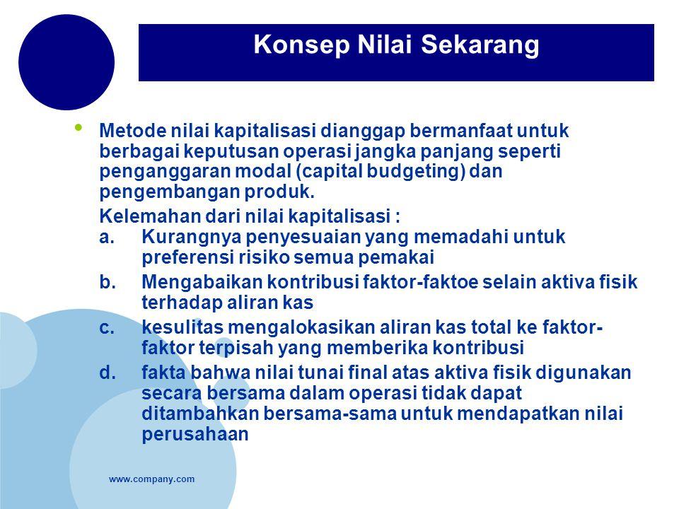 www.company.com Metode nilai kapitalisasi dianggap bermanfaat untuk berbagai keputusan operasi jangka panjang seperti penganggaran modal (capital budg