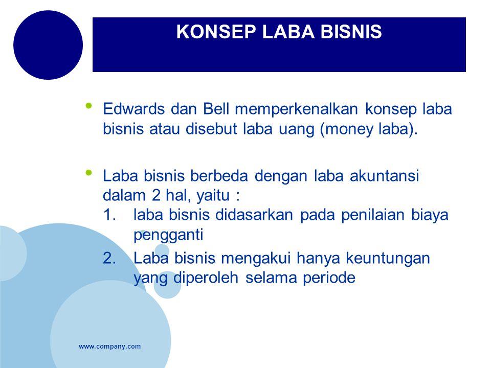 www.company.com KONSEP LABA BISNIS Edwards dan Bell memperkenalkan konsep laba bisnis atau disebut laba uang (money laba). Laba bisnis berbeda dengan