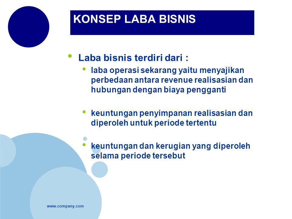 www.company.com KONSEP LABA BISNIS Laba bisnis terdiri dari : laba operasi sekarang yaitu menyajikan perbedaan antara revenue realisasian dan hubungan