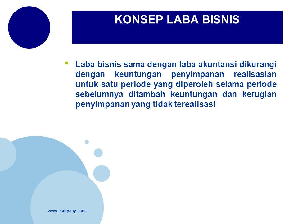 www.company.com KONSEP LABA BISNIS Laba bisnis sama dengan laba akuntansi dikurangi dengan keuntungan penyimpanan realisasian untuk satu periode yang