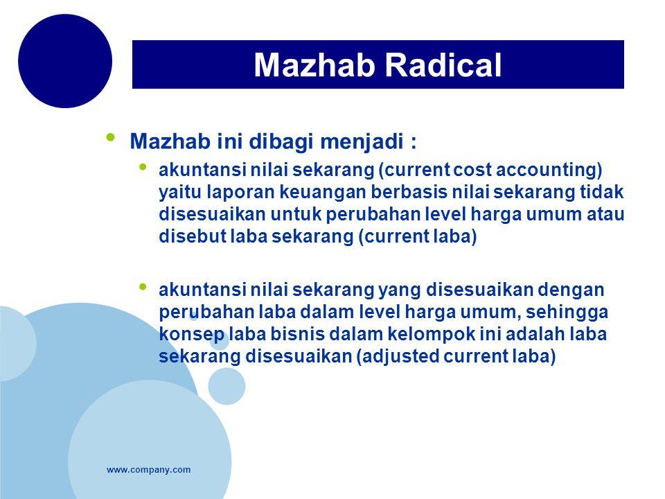 www.company.com Mazhab ini dibagi menjadi : akuntansi nilai sekarang (current cost accounting) yaitu laporan keuangan berbasis nilai sekarang tidak di