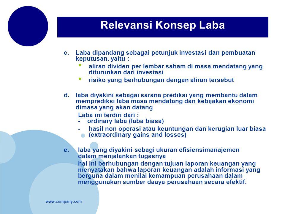 www.company.com c.Laba dipandang sebagai petunjuk investasi dan pembuatan keputusan, yaitu : aliran dividen per lembar saham di masa mendatang yang di