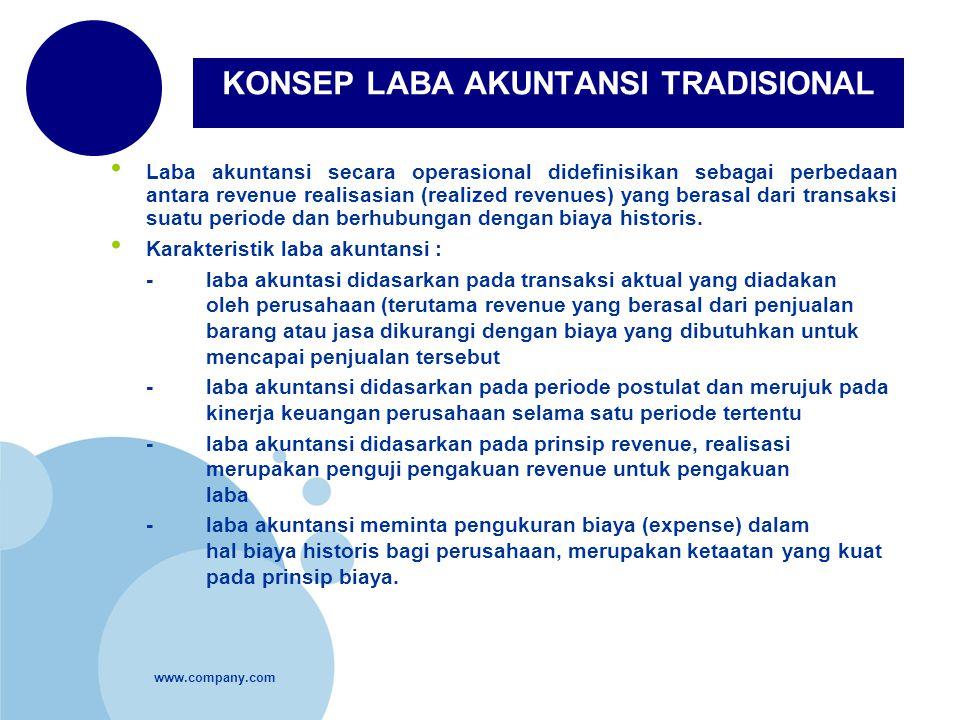 www.company.com Laba akuntansi secara operasional didefinisikan sebagai perbedaan antara revenue realisasian (realized revenues) yang berasal dari tra
